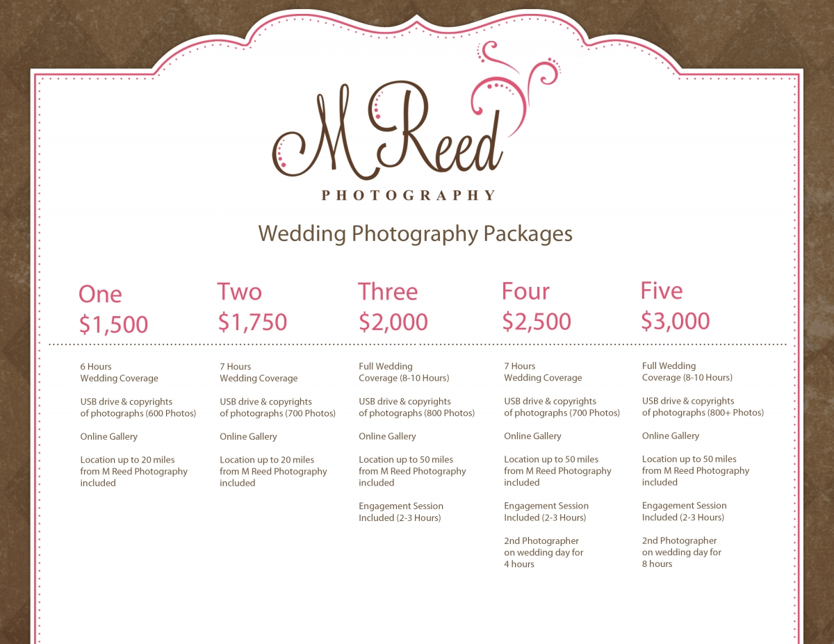 Wedding photography packages for Wedding photo and video packages