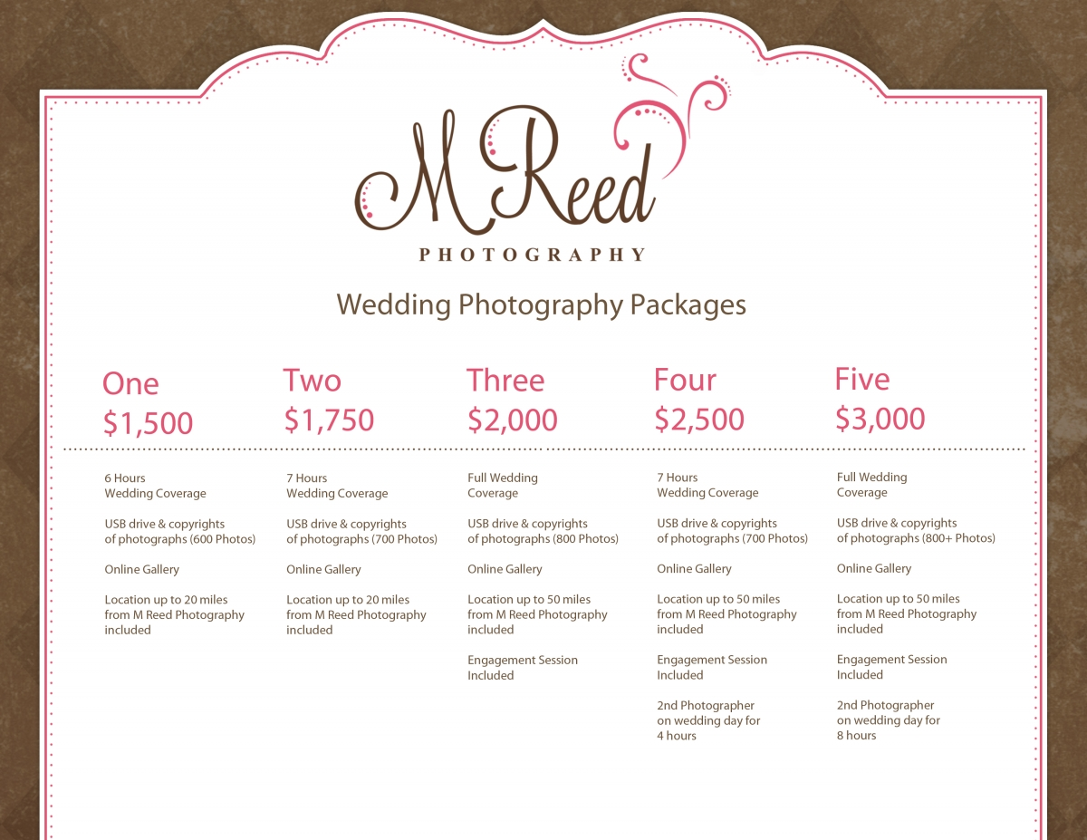 wedding photography packages m reed photography With wedding cinematography packages