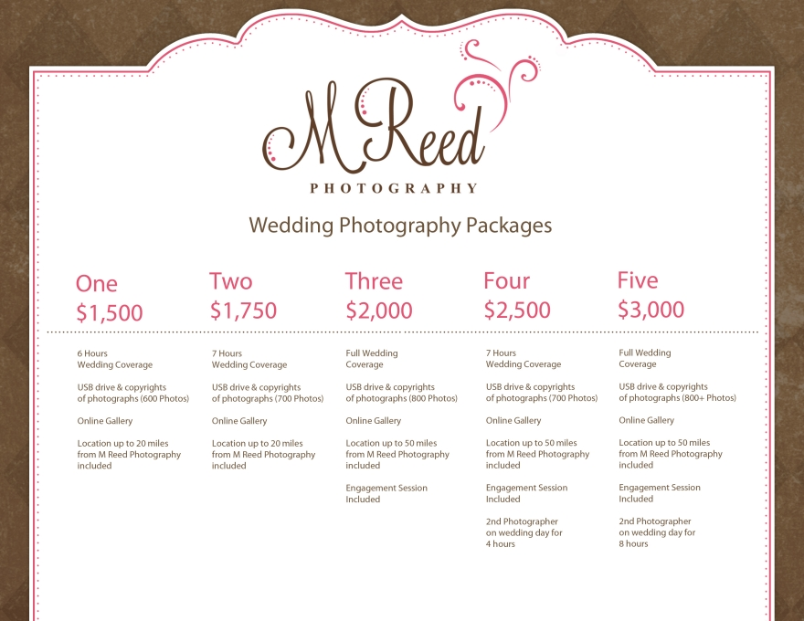Wedding photography packages m reed photography for Wedding photo print packages